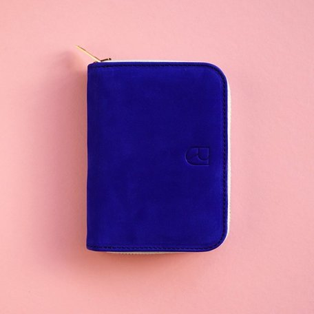 small leather wallet cobalt