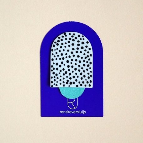 porcelain brooch Gelato (dots and mint leather)