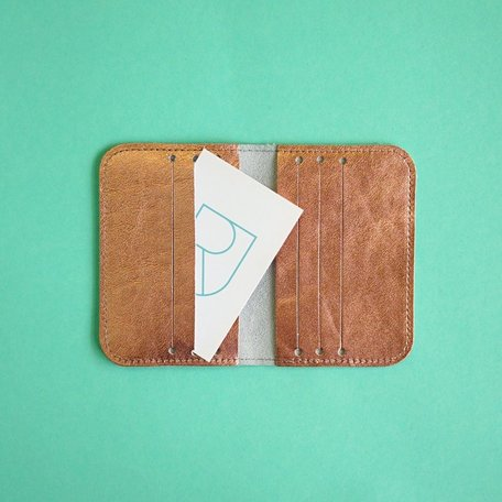 leather card sleeve copper
