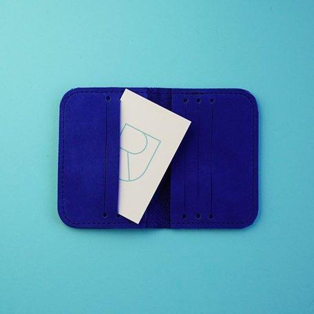 leather card sleeve bio cobalt