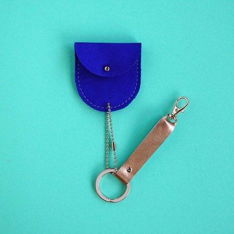 leather keychain bio cobalt