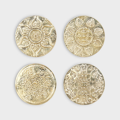 floral coasters brass