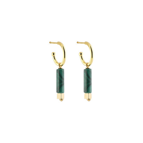 Hoops with malachite cylinder pendant