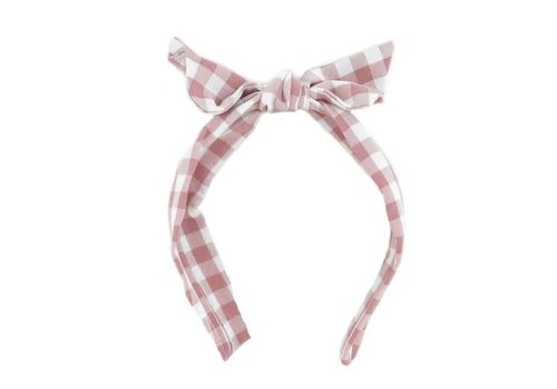 Cute Gingham Tie Head Band Pink