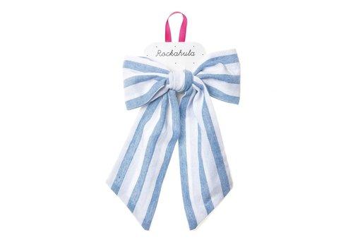 Annie Stripy Bow Clip Blue