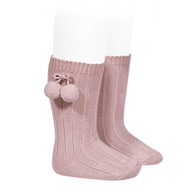 CONDOR - Kniesokken met pompoms - Pale Pink (526)