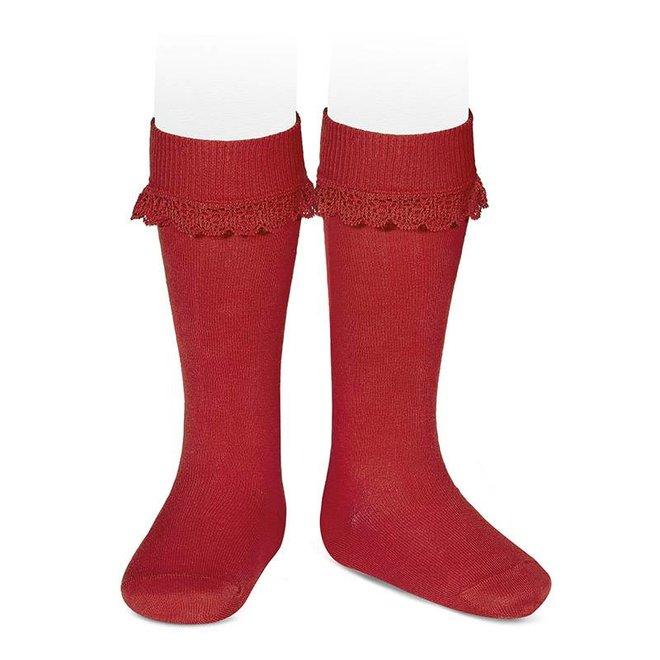 CONDOR - Kniesokken met boord in kant - Red (550)