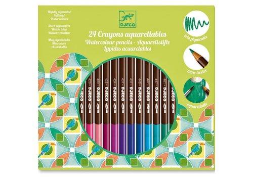 Djeco DJECO - 24 crayons Aquarellables