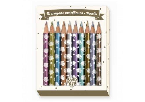 DJECO - Lovely Paper - 10 Mini Crayons Mettalic