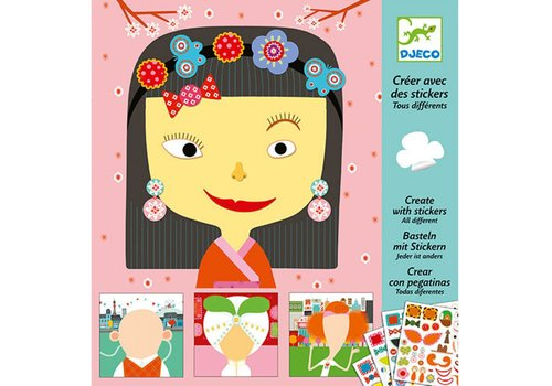 Djeco DJECO - Create with stickers - Tous Differents