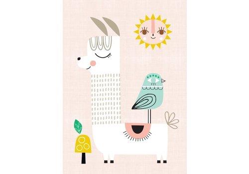 PETIT MONKEY - Poster 29.7x42 - Sunshine Lama pink