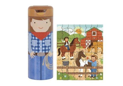 PETIT COLLAGE - Puzzel&Spaarpot - Op de ranch 64stuks