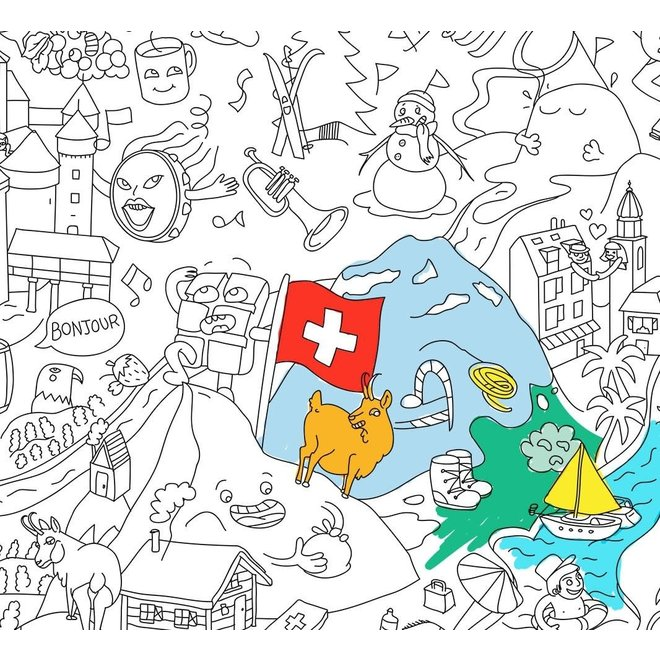 OMY - Coloring Poster 100x70cm - Switserland