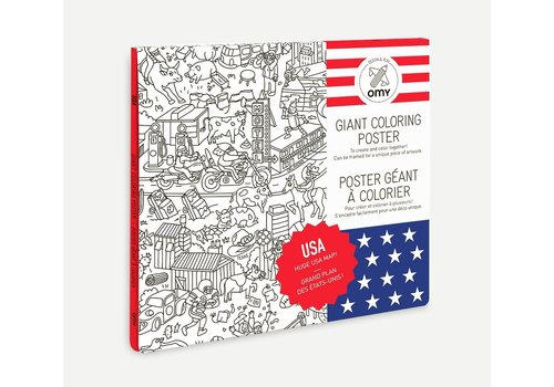 Omy OMY - Coloring Poster 100x70cm - USA