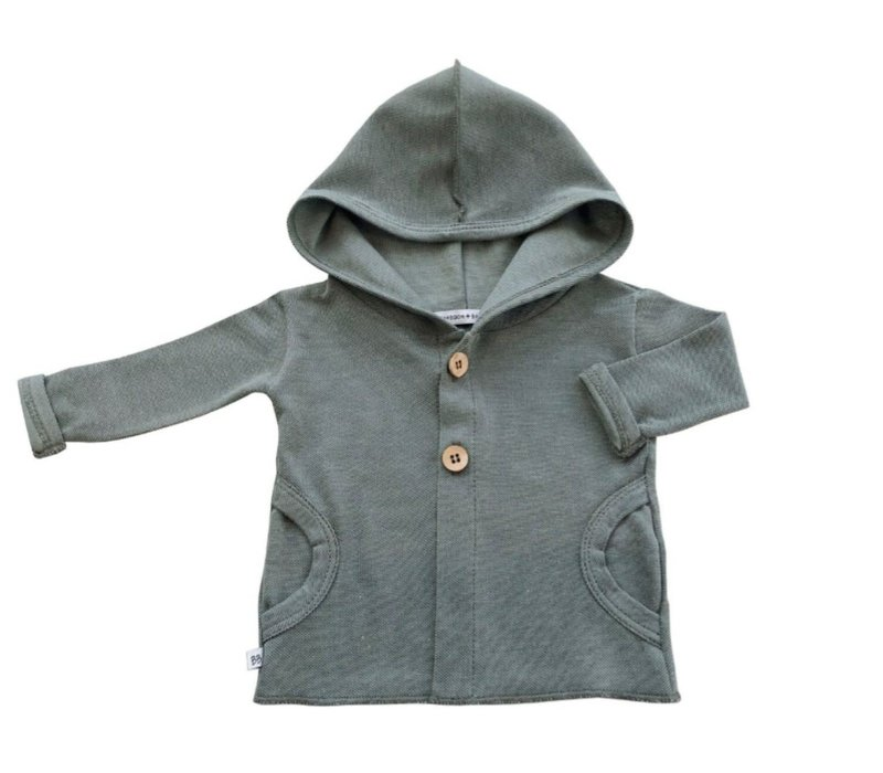 BAMBOOM - Hooded Cardigan - Olive Green