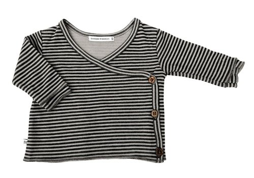 BAMBOOM BAMBOOM - Wrap Shirt - Stripe Antraciet/Fango
