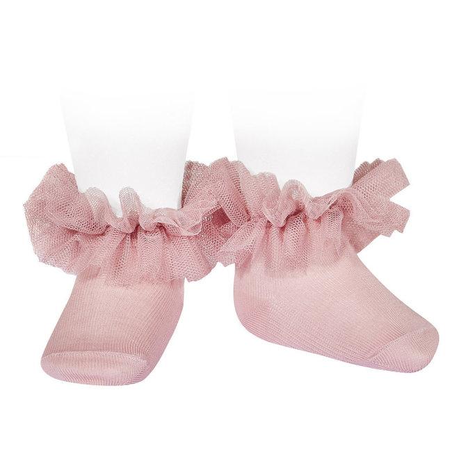 CONDOR - Enkelsokken met Tule - Pale Pink (526)