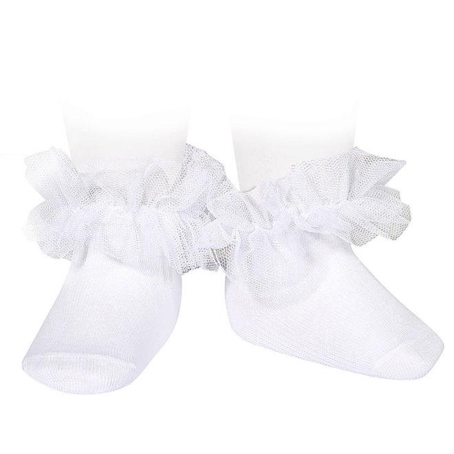CONDOR - Enkelsokken met Tule - Wit (200)