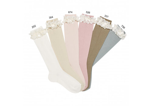 CONDOR CONDOR - Lace Knee Socks with Bow