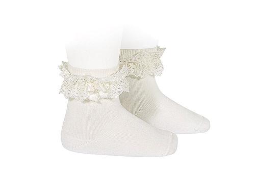 CONDOR CONDOR - Lace short socks with Bow (202)