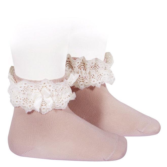 CONDOR - Korte Sokken met kant & strikje - Pale Pink (526)