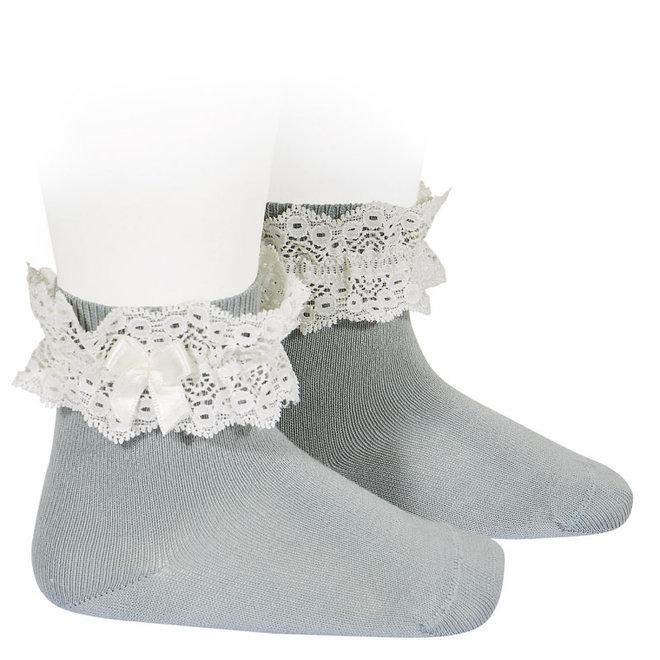 CONDOR - Korte sokken met kant & strikje - Dry Green (756)