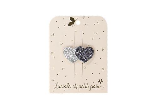 Luciole et Petit Pois LUCIOLE ET PETIT POIS - Mini Haarspelden - Hartjes Silver