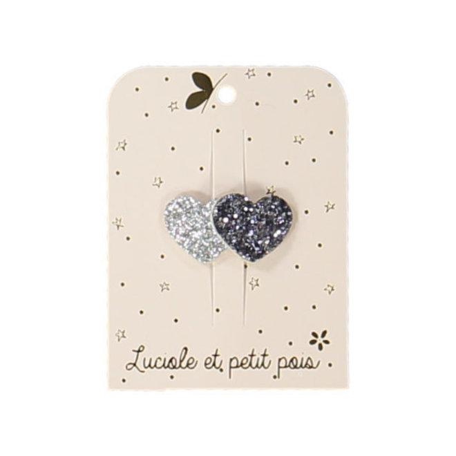 LUCIOLE ET PETIT POIS - Mini Haarspelden - Hartjes Silver