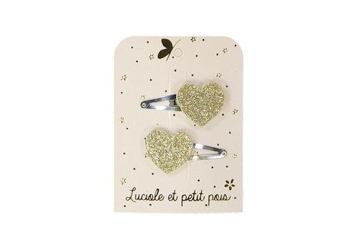 Luciole et Petit Pois LUCIOLE ET PETIT POIS - Duo Haarspelden - Hartjes Gold