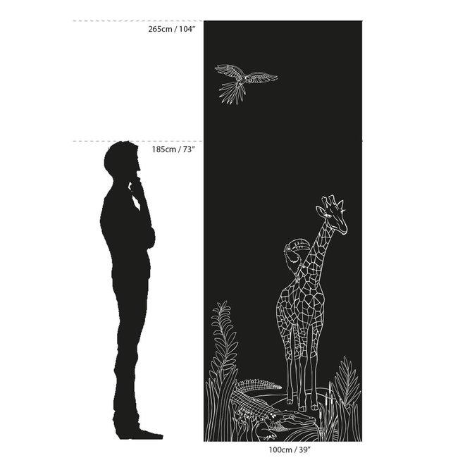 GROOVY MAGNETS - Krijtbehang - Giraf 100x265cm