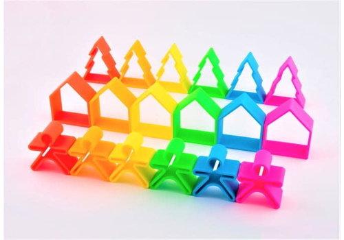 Dëna PRE ORDER - DENA - 6 Kids + 6 Trees + 6 Houses ( 18 stuks) - Neon