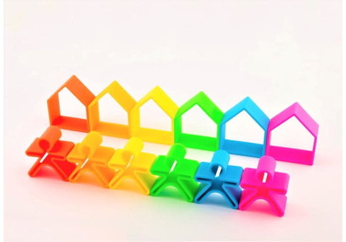 Dëna PRE ORDER - DENA - 6 Kids + 6 Houses ( 12 stuks) - Neon