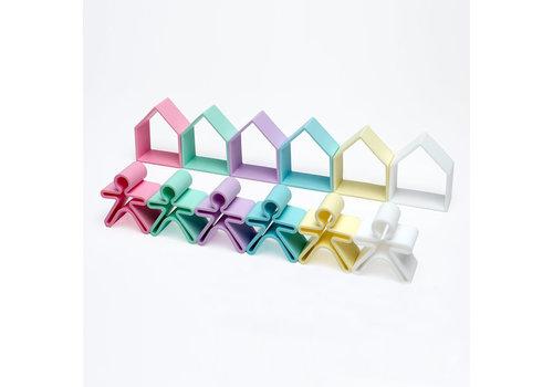 Dëna DENA - 6 Kids + 6 Houses ( 12 stuks) - Pastel
