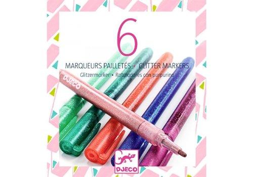 DJECO - Les couleurs - 6 marqueurs pailletés sweet