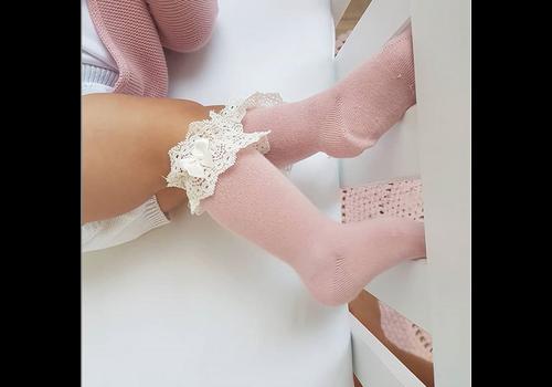 Verjaardagslijst CONDOR - Lace Knee Socks with Bow (674)