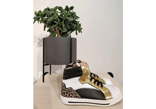 Walkey MORELLI - Sneaker - Scarpa Stringa Bianco/oro/leopard