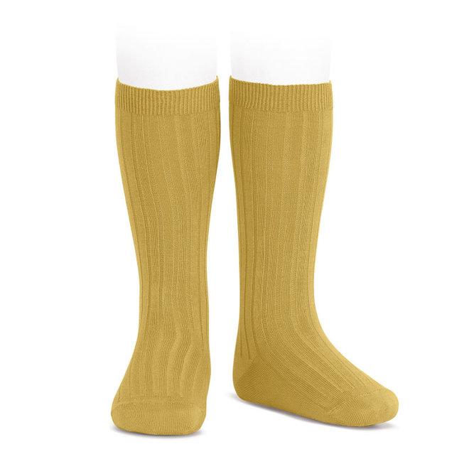 CONDOR - Kniesokken - Mustard (629)