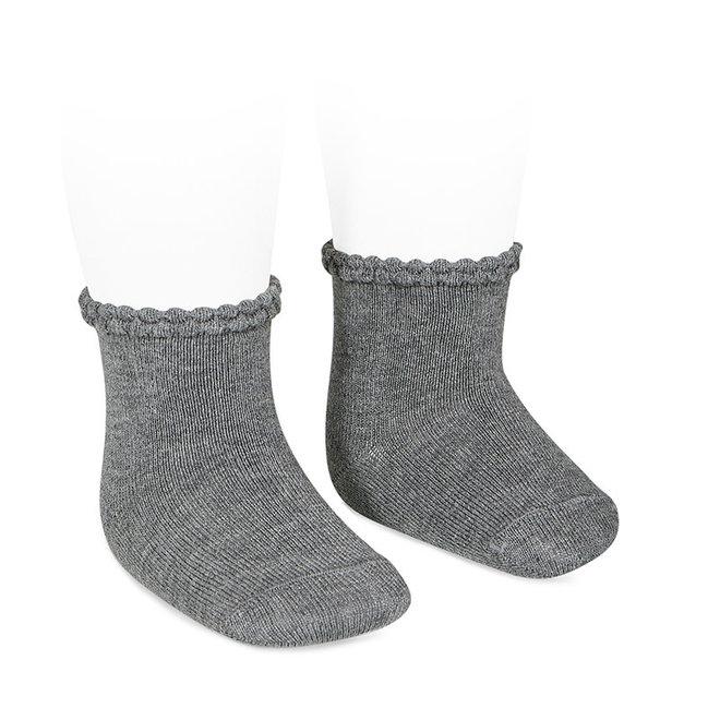 CONDOR - Korte sokken met fantasie randje - Light Grey (230)