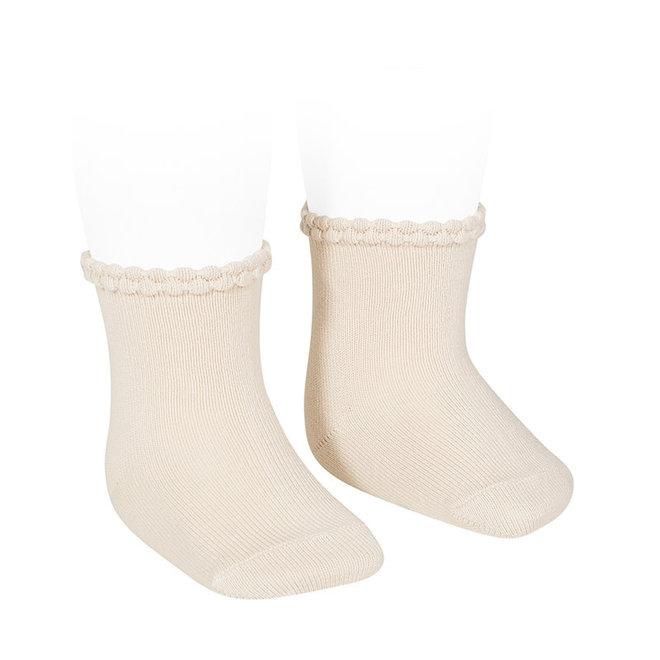 CONDOR - Korte sokken met fantasie randje - Linen (304)