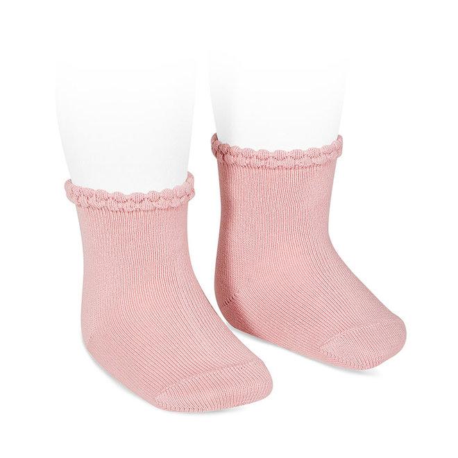 CONDOR - Korte Sokken met fantasie randje - Pale Pink (526)