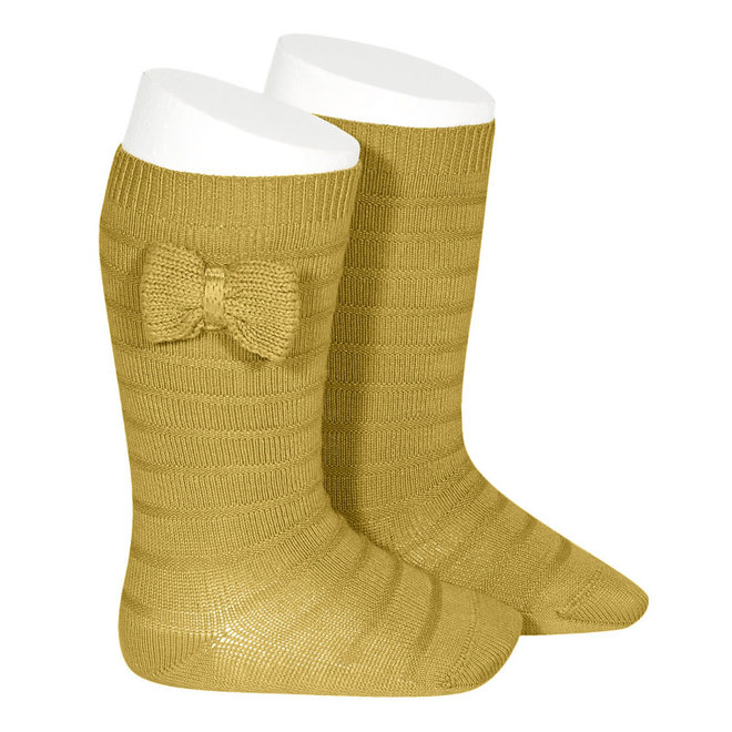 CONDOR - Kniesokken met gebreide strik - Mustard (629)
