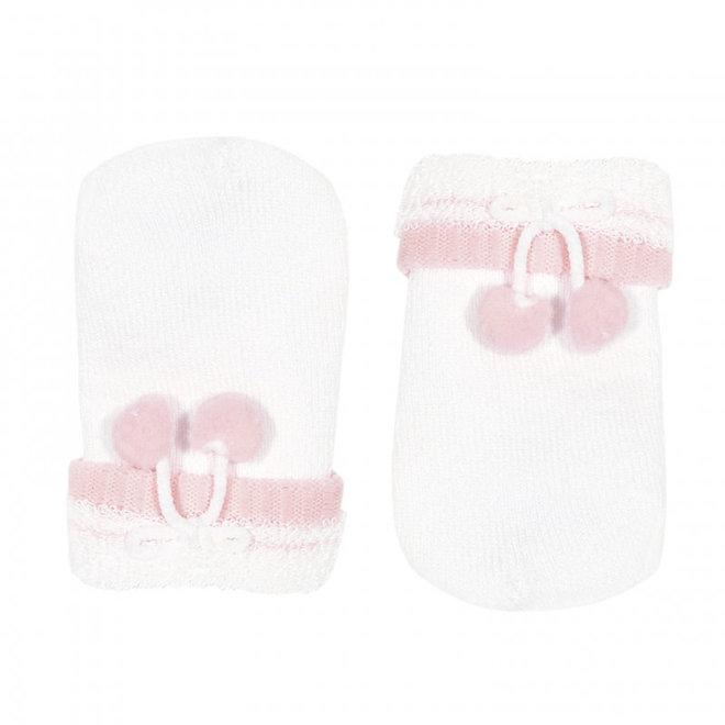 CONDOR - Baby handschoenen met pompoms - Wit (200)