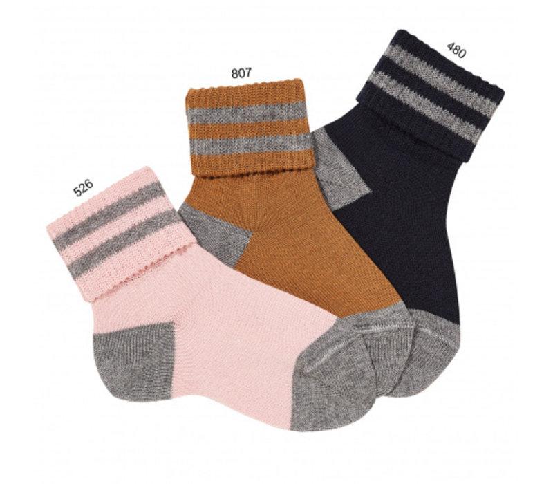CONDOR - Striped short socks with folded cuff