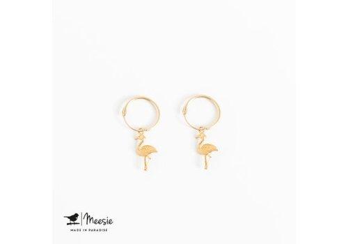 Meesie&Bintjes MEESIE&BINTJE - Oorbellen Bedel - Flamingo (Goud op Zilver)