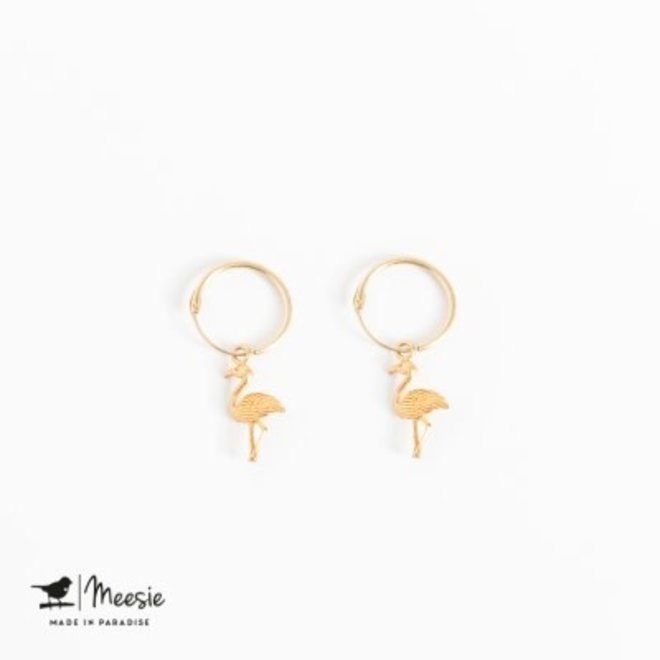 MEESIE&BINTJE - Oorbellen Bedel - Flamingo (Goud op Zilver)