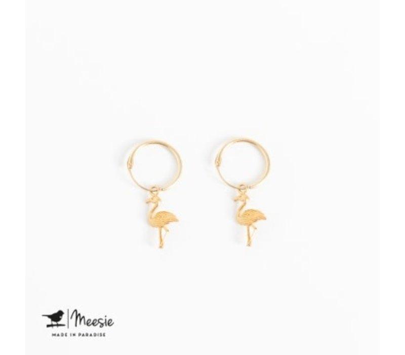 MEESIE&BINTJE - Oorbellen - Flamingo (Goud op Zilver)