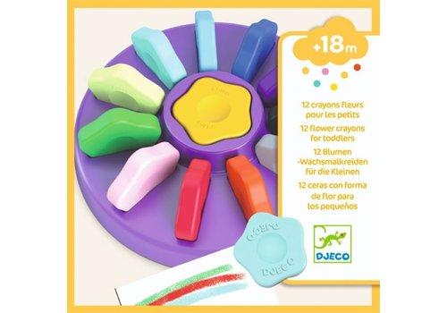 DJECO - 12 Crayons +18m -  Fleur