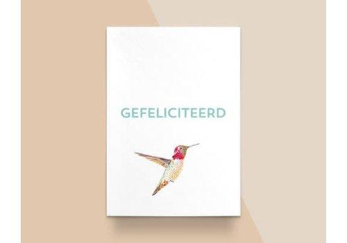 """Kathings Kathings - Postkaart - Animals  """"Gefeliciteerd"""" Kolibrie"""