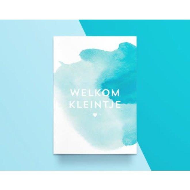 """Kathings - Postkaart - Colors """"Welkom Kleintje"""" Blauw"""