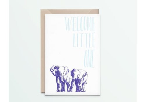 """Kathings Kathings - Postkaart - Animals  """"Welcome Little One"""" Olifanten"""